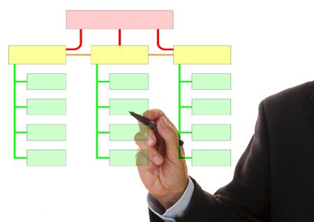 businessman is writing in structural plan with copy space