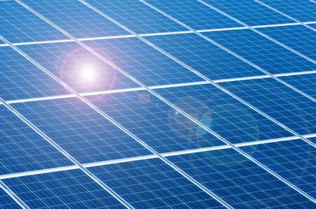 solar panels for renewable energy with sunlight