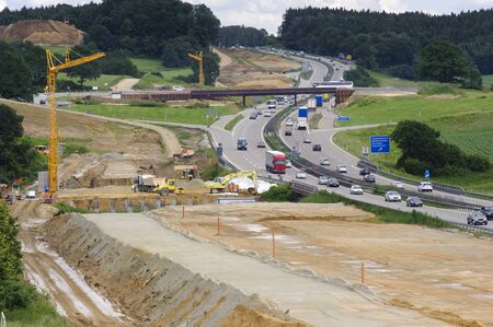 construction site at Autobahn in Germany Stock Photo