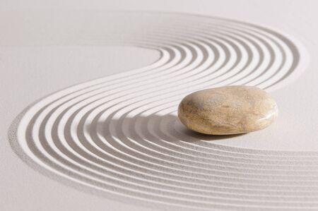 Japanese ZEN garden in sand with stone