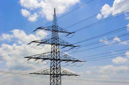 high voltage electric pylons of power station Standard-Bild