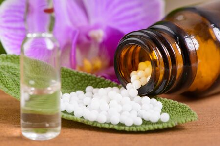 alternative and herbal medicine with homeopathic pills Foto de archivo
