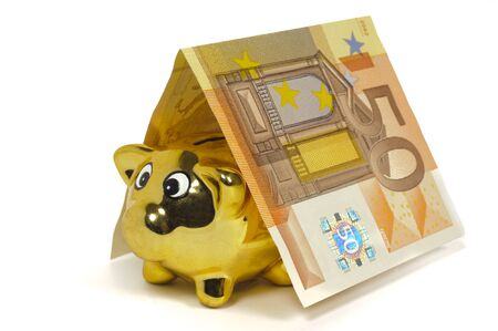 model home built with banknotes of Euro currency and piggy bank