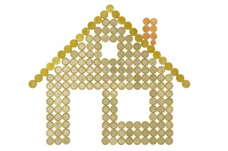 model home built with coins of Euro currency