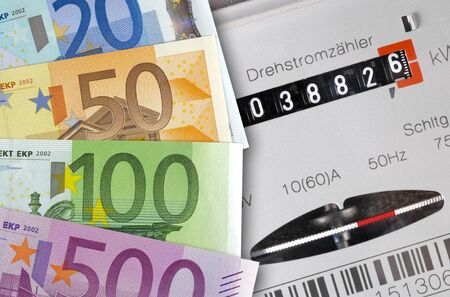 Euro banknotes and electrical counter