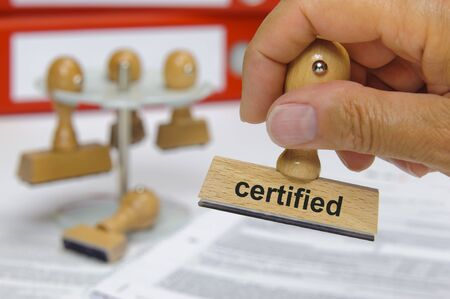 certified  printed on rubber stamp 版權商用圖片