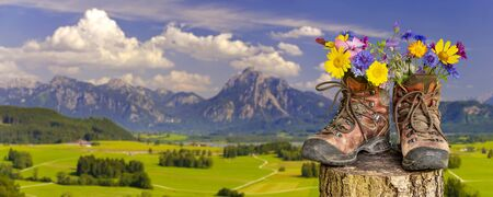 walking boots with beautiful flowers on trekking tour 版權商用圖片 - 128193142