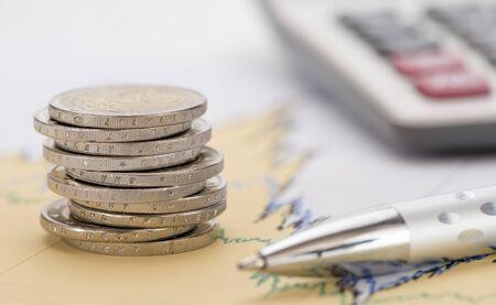 Pièces empilées de monnaie Euro
