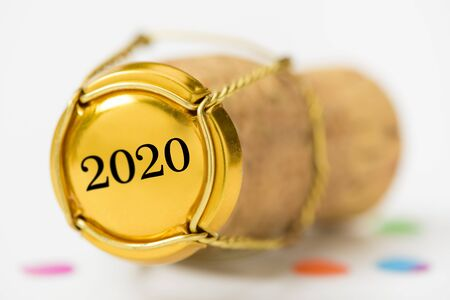Happy new year 2020 with cork stopper of bottle champagne