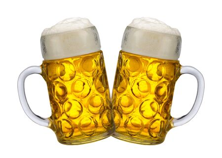 big traditional glass of Bavarian beer at Oktoberfest in Munich Stockfoto
