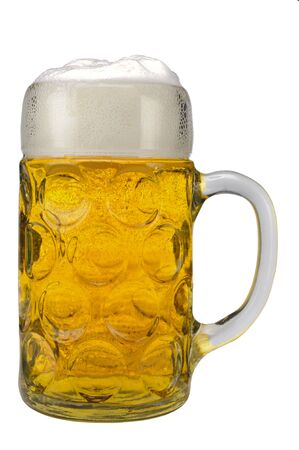 big traditional glass of Bavarian beer at Oktoberfest in Munich Stock Photo