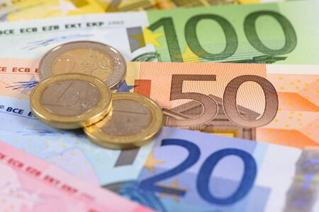 business and finance with Euro currency Фото со стока