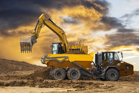 Excavator on a construction site Stock Photo