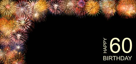 Happy birthday 60th with firework Imagens