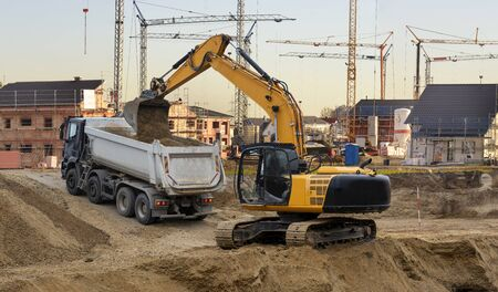 excavator at work in construction site