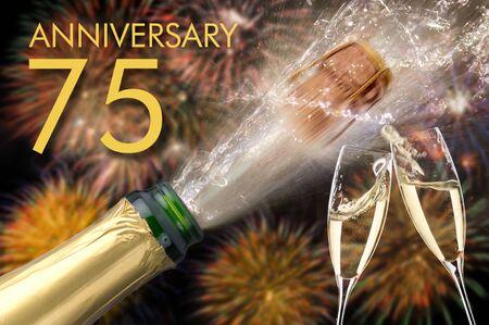 75 aniversario y aniversario con champán y fuegos artificiales