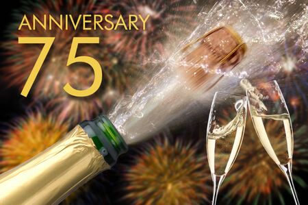 75th jubilee and anniversary with champagne and firework