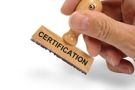certification printed on rubber stamp Banco de Imagens