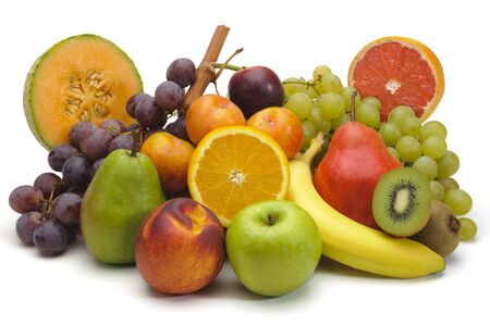 mixed fruit plate on white background