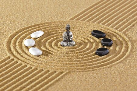 Japanese ZEN garden with stone in textured sand 版權商用圖片