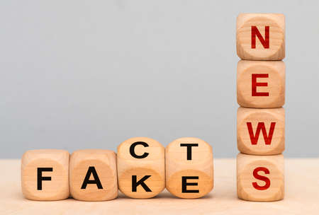 fact and fake printed on wooden cubes