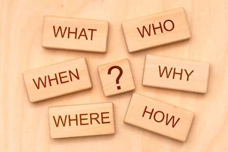 W-questions as basic for journalism printed on cubes Standard-Bild