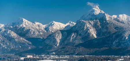 beautiful panoramic landscape in Bavaria at winter