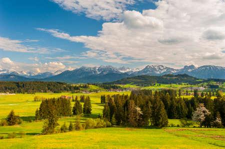 beautiful panoramic landscape in Bavaria at summer