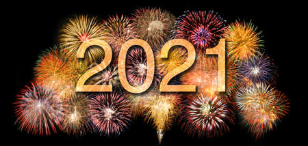 firework on sky with year date 2021
