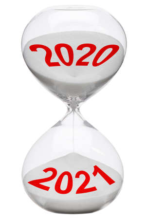 Happy new year 2021 with running time in hourglass