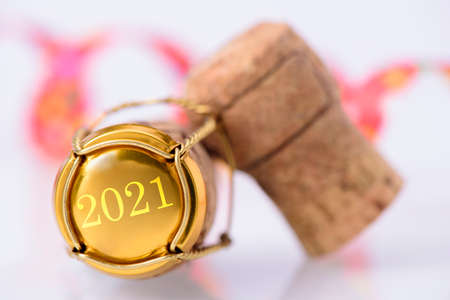 Happy new year 2021 with cork of champagne