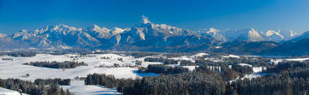 panoramic landscape in Bavaria at winter Stock Photo