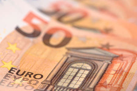 50 euro banknote in detail Stock Photo