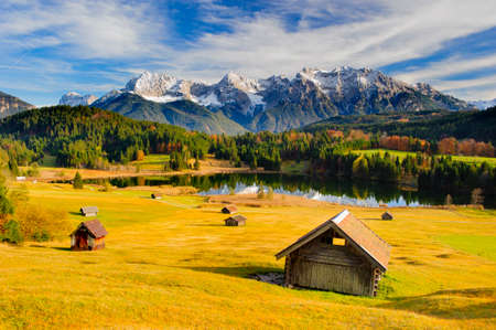 panoramic landscape in Bavaria with mountain range in autumn