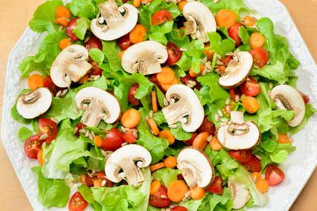 fresh green salad with mushrooms Stock Photo
