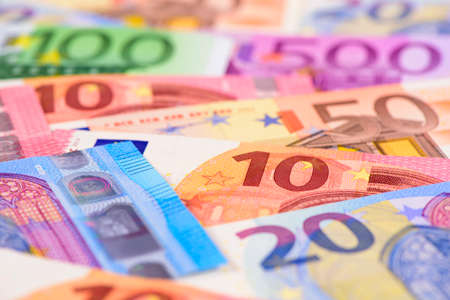 Euro currency with many bank notes Stock Photo