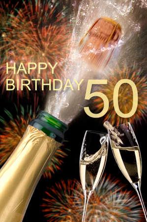 happy congratulations to the 50th birthday Stock Photo
