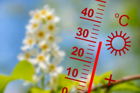 heat in summer with high temperature at thermometer