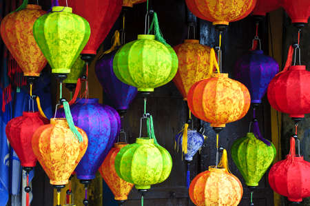 hoi an: Silk lanterns in Hoi An city, Vietnam Stock Photo