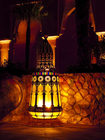 made in morocco: Outdoor lamp in a resort, Hua-Hin, Thailand