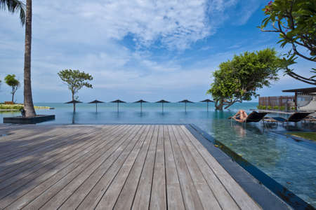 wooden deck: Swimming pool terrace in a resort, Hua-Hin, Thailand