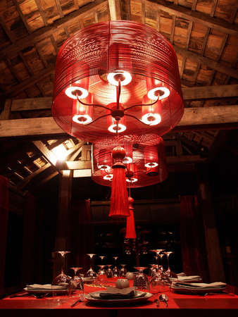 Red pendant lamp  Stock Photo - 17069373