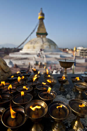 pilgrim journey: The Great stupa Bodnath in Kathmandu, Nepal