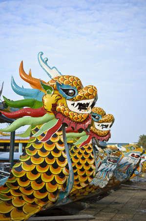 Dragon boat in Hue, Vietnam Stock Photo - 17236155