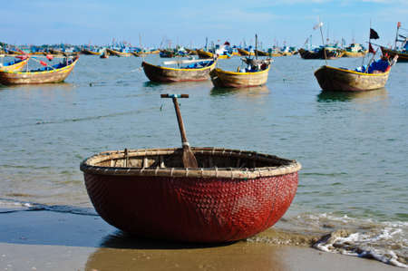 Basket boat, Mui Ne, Vietnam Stock Photo