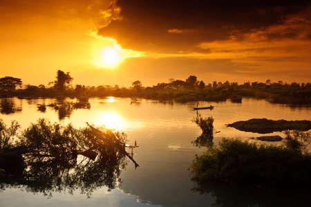 Si Phan Don, Laos 版權商用圖片