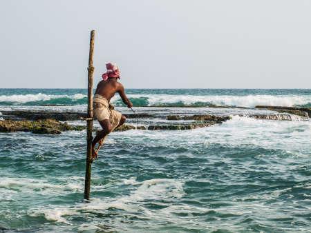 Local fishermen in Ahangama, Sri Lanka. Editorial
