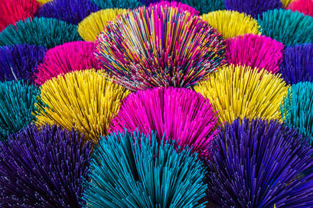 sandalwood: Various colors of Incense in Hoi An Vietnam Stock Photo