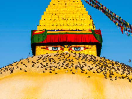 kathmandu: The Great stupa Bodnath in Kathmandu, Nepal Stock Photo