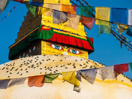 pilgrim journey: The Great stupa Bodnath in Kathmandu, Nepal Stock Photo